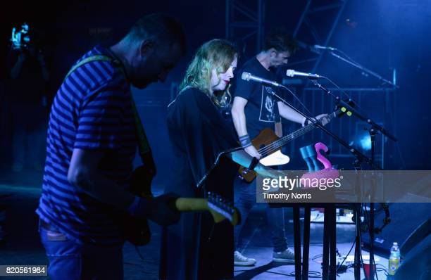 Christian Savill Rachel Goswell and Nick Chaplin Slowdive perform onstage during day 1 of FYF Fest 2017 on July 21 2017 at Exposition Park in Los...