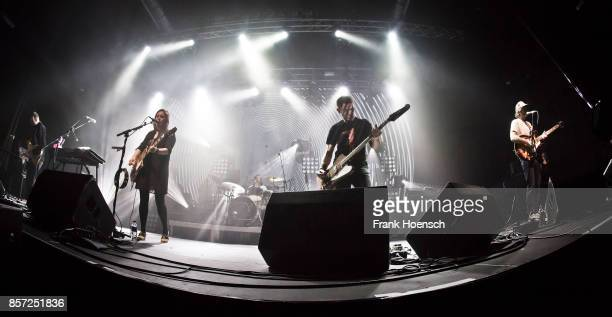 Christian Savill Rachel Goswell Simon Scott Nick Chaplin and Neil Halstead of the British band Slowdive perform live on stage during a concert at the...
