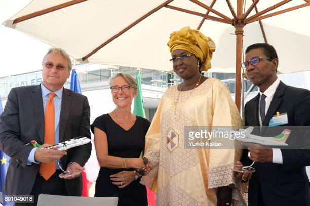 Christian Scherer chief executive officer of ATR Elisabeth Borne French transport minister Maimouna Ndoye Seck Senegal's Minister for Tourism and Air...