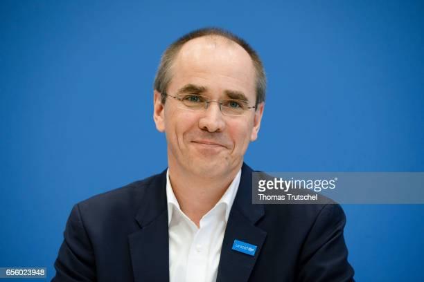 Christian Schneider head of UNICEF Germany speaks to the media at Bundespressekonferenz on March 21 2017 in Berlin Germany