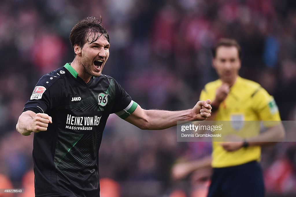 Christian Schulz of Hannover 96 celebrates after the Bundesliga match between 1 FC Koeln and Hannover 96 at RheinEnergieStadion on October 18 2015 in...
