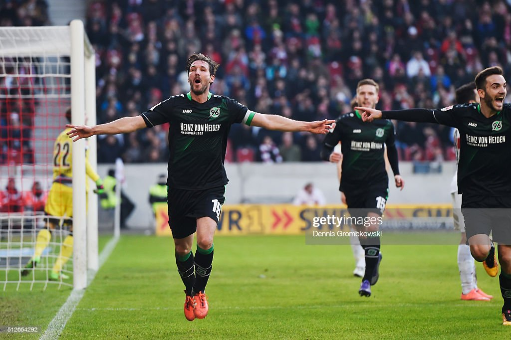 Christian Schulz of Hannover 96 celebrates as he scores their second goal during the Bundesliga match between VfB Stuttgart and Hannover 96 at Mercedes-Benz Arena on February 27, 2016 in Stuttgart, Germany.