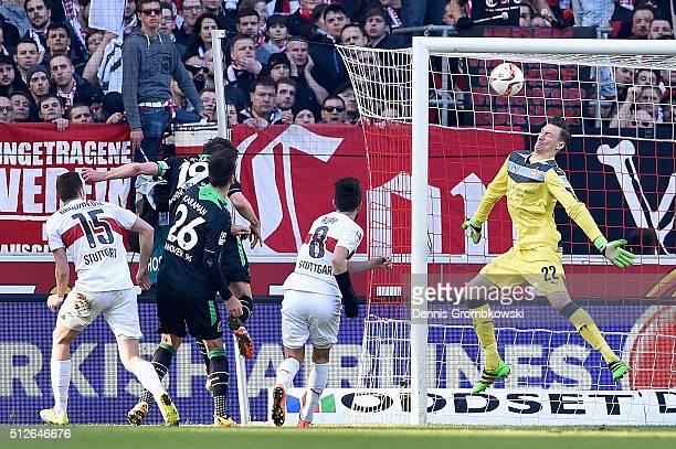 Christian Schulz of Hannover 96 heads their first goal past Prezmyslaw Tyton of VfB Stuttgart during the Bundesliga match between VfB Stuttgart and...