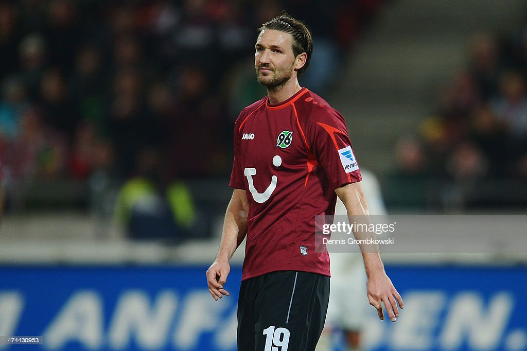 Christian Schulz of Hannover 96 looks dejected during the Bundesliga match between Hannover 96 and FC Bayern Muenchen at HDIArena on February 23 2014...