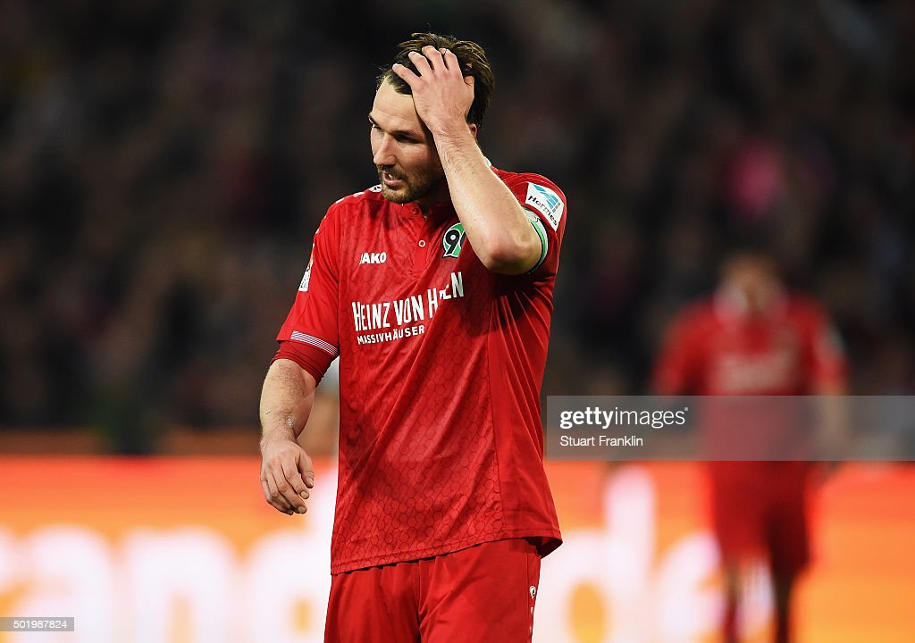 Christian Schulz of Hannover looks dejected during the Bundesliga match between Hannover 96 and FC Bayern Muenchen at HDIArena on December 19 2015 in...