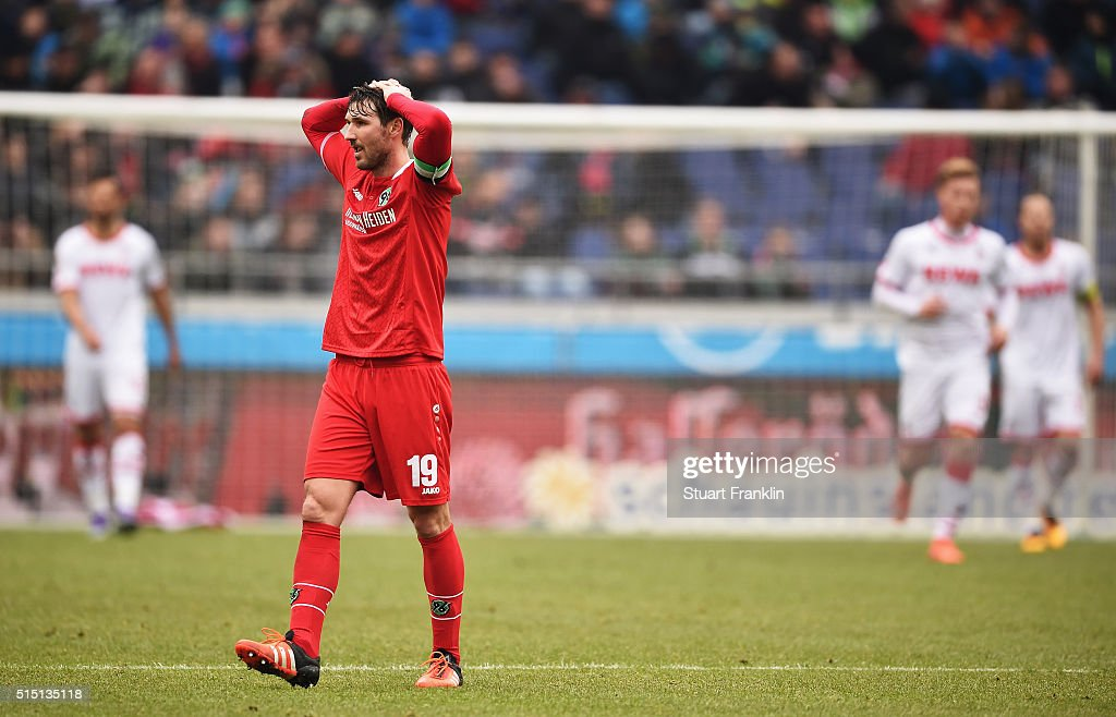 Christian Schulz of Hannover looks dejected during the Bundesliga match between Hannover 96 and 1 FC Koeln at HDIArena on March 12 2016 in Hanover...