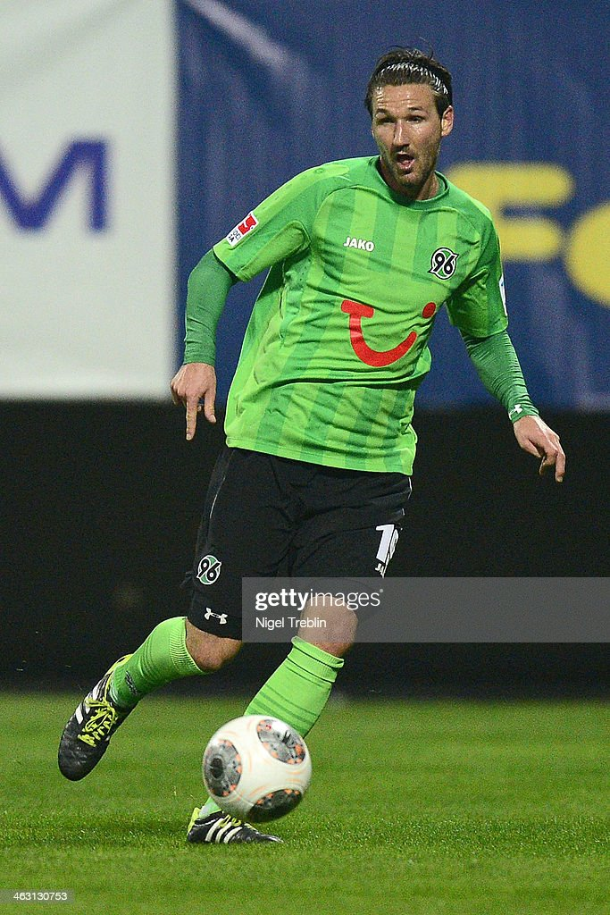 Christian Schulz of Hannover plays the ball during the friendly match between Fenerbahce SK and Hannover 96 at Mardan stadium on January 16 2014 in...