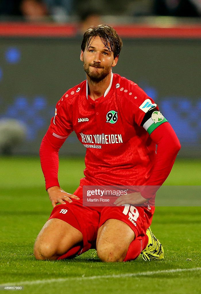 Christian Schulz of Hannover reacts during the Bundesliga match between Hannover 96 and VfB Stuttgart at HDIArena on September 23 2015 in Hanover...