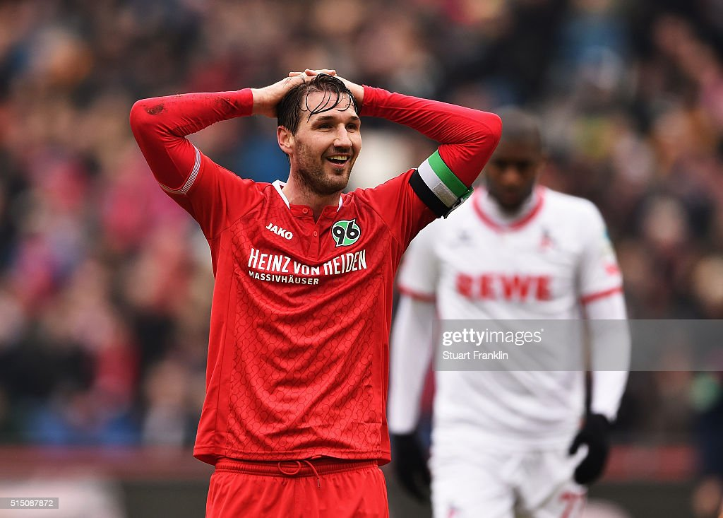 Christian Schulz of Hannover reacts during the Bundesliga match between Hannover 96 and 1 FC Koeln at HDIArena on March 12 2016 in Hanover Germany