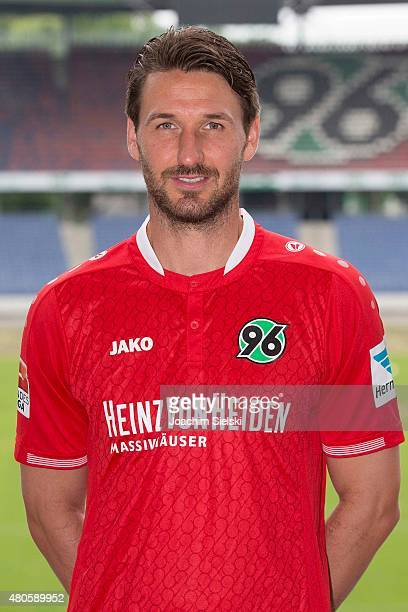 Christian Schulz poses during the team presentation of Hannover 96 at HDIArena on July 13 2015 in Hanover Germany