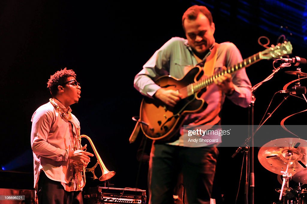 Christian Scott and Matt Stevens perform on stage at Royal Festival Hall during the fourth day of London Jazz Festival 2010 on November 15, 2010 in London, England.