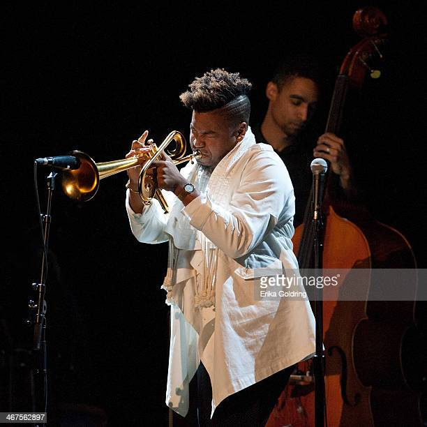 Christian Scott performs in concert at the Civic Theatre on February 6 2014 in New Orleans Louisiana