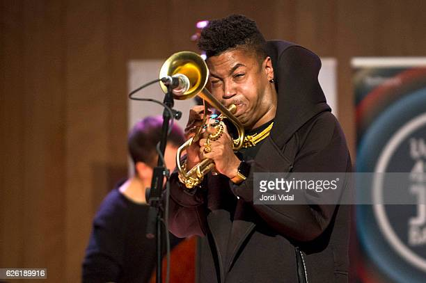 Christian Scott performs on stage during Festival Internacional de Jazz de Barcelona at Conservatori del Liceu on November 27 2016 in Barcelona Spain
