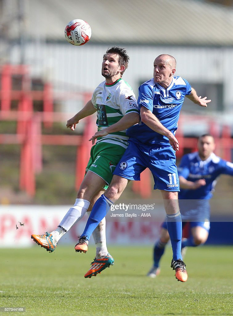 Christian Seargeant of The New Saints and Tony Gray of Airbus UK Broughton during the JD Welsh Cup Final match between Airbus UK Broughton and The New Saints at Racecourse Ground on May 2, 2016 in Wrexham, Wales.