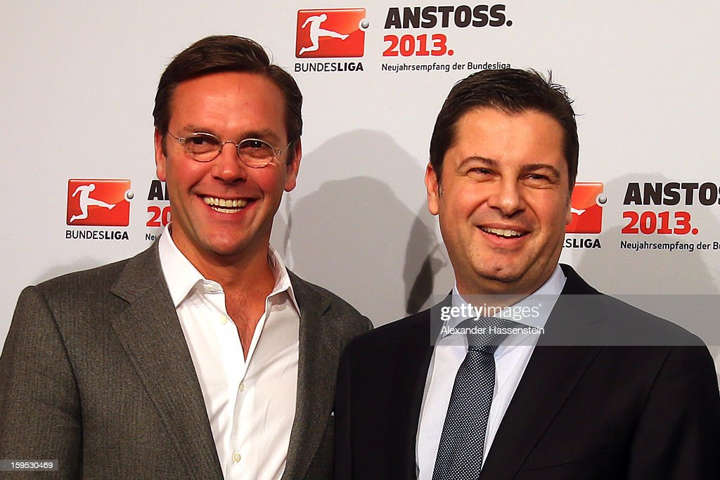 Christian Seifert (R), chairman of business for the DFL smiles with James Murdoch, CEO News Corporation Europe and Asia, during the DFL new year's reception at the Thurn und Taxis Palais on January 15, 2013 in Frankfurt am Main, Germany.