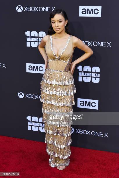 Christian Serratos attends AMC Celebrates The 100th Episode Of 'The Walking Dead' Arrivals at The Greek Theatre on October 22 2017 in Los Angeles...