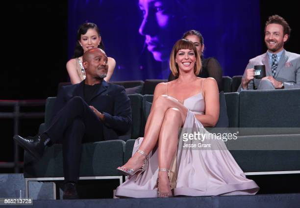 Christian Serratos Seth Gilliam Pollyanna McIntosh and Ross Marquand speak onstage at The Walking Dead 100th Episode Premiere and Party on October 22...
