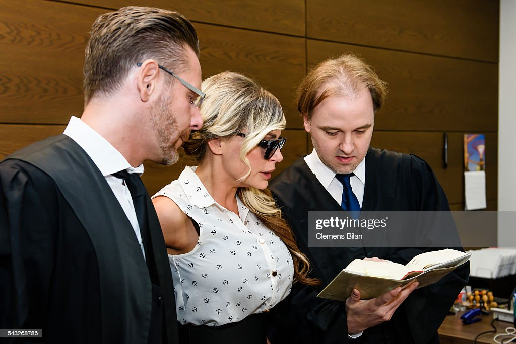 Christian Simonis, <a gi-track='captionPersonalityLinkClicked' href=/galleries/search?phrase=Gina-Lisa+Lohfink&family=editorial&specificpeople=5531729 ng-click='$event.stopPropagation()'>Gina-Lisa Lohfink</a> and Burkhard Benecken attend a court trial on June 27, 2016 in Berlin, Germany.