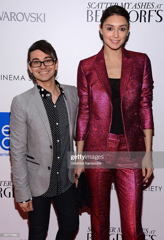 Christian Siriano and Anna Schilling attend the Cinema Society with Swarovski & Grey Goose premiere of eOne Entertainment's 'Scatter My Ashes at Bergdorf's' at Florence Gould Hall on April 29, 2013 in New York City.