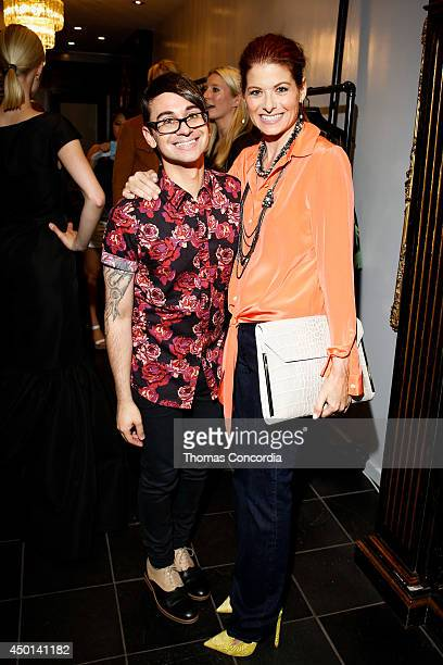 Christian Siriano and Debra Messing attend the Christian Siriano resort 2015 preview party on June 5 2014 in New York City