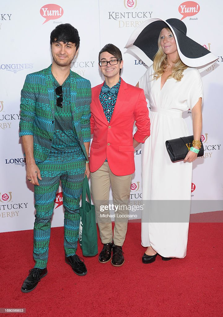 Christian Siriano (C) attend the 139th Kentucky Derby at Churchill Downs on May 4, 2013 in Louisville, Kentucky.