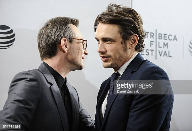 Christian Slater and James Franco attend the 'King Cobra' Premiere 2016 Tribeca Film Festival at Regal Battery Park 11 on April 16 2016 in New York...