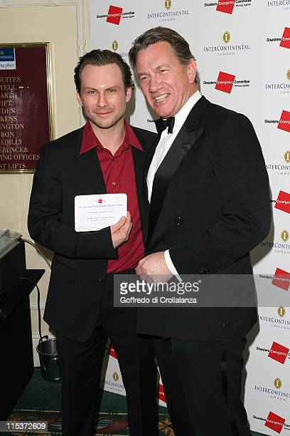 Christian Slater and Michael Portillo during Tsunami Earthquake Appeal Dinner at InterContinental Hotel in London Great Britain