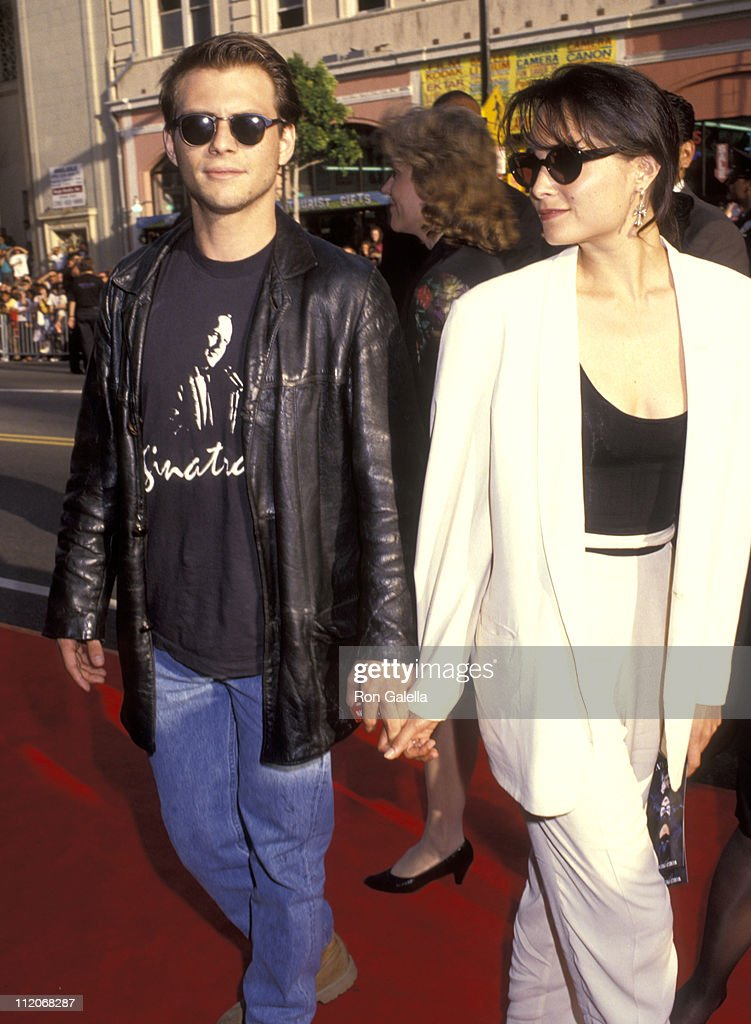 <a gi-track='captionPersonalityLinkClicked' href=/galleries/search?phrase=Christian+Slater&family=editorial&specificpeople=201651 ng-click='$event.stopPropagation()'>Christian Slater</a> and Nina Huang during 'Batman Returns' Hollywood Premiere at Mann's Chinese Theatre in Hollywood, California, United States.