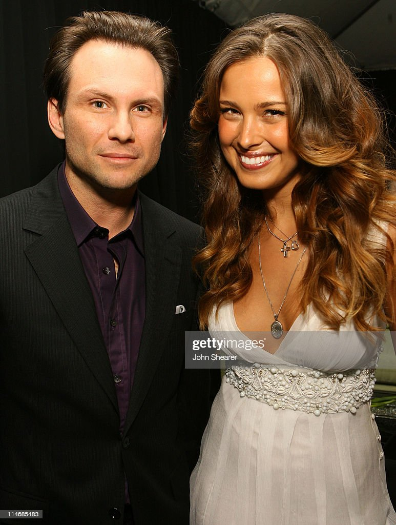 Christian Slater and Petra Nemcova during 2007 GM Style - Backstage at GM Pavilion in Detroit, Michigan, United States.
