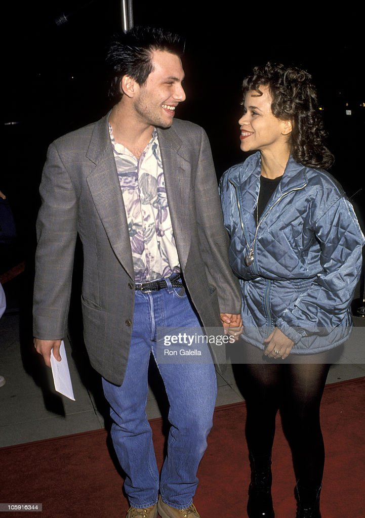 Christian Slater and Rosie Perez during Los Angeles Premiere of 'Hoffa' to Benefit Tripod Hoffa at Academy Theatre in Beverly Hills, California, United States.