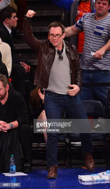 Christian Slater attends the Toronto Raptors vs New York Knicks game at Madison Square Garden on April 16 2014 in New York City