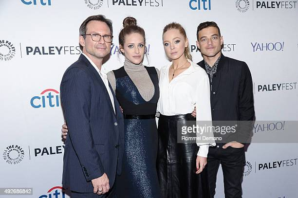 Christian Slater Carly Chaikin Portia Doubleday and Rami Malek attend PaleyFest New York 2015 'Mr Robot' at The Paley Center for Media on October 14...