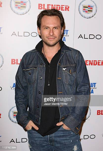 Christian Slater during Blender Celebrates First Annual Rock Roll Hollywood Issue Arrivals at Private Residence in Hollywood California United States