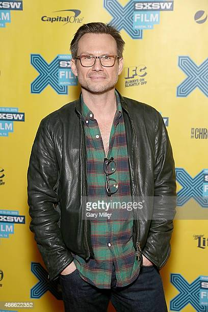 Christian Slater poses on the red carpet for a screening of 'Mr Robot' at the Vimeo during the South by Southwest Film Festival on March 17 2015 in...
