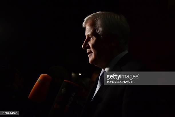 Christian Social Union leader Horst Seehofer leaves after speaking after exploratory talks on forming a new government broke down on November 19 2017...