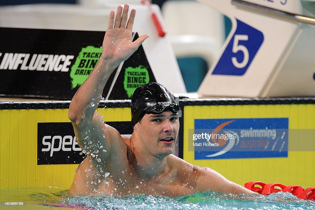 Christian Sprenger celebrates winning the final of the Mens 50 metre Breaststroke event during the 2014 Australian Swimming Championships at Brisbane Aquatic Centre on April 5, 2014 in Brisbane, Australia.