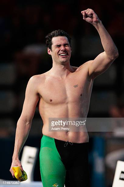 Christian Sprenger of Australia celebrates winning the Swimming Men's 100m Breaststroke Final on day ten of the 15th FINA World Championships at...