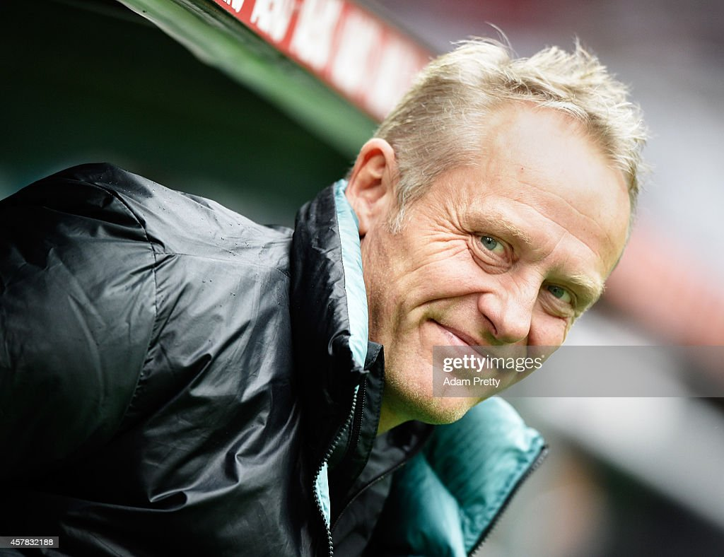 <a gi-track='captionPersonalityLinkClicked' href=/galleries/search?phrase=Christian+Streich&family=editorial&specificpeople=4411796 ng-click='$event.stopPropagation()'>Christian Streich</a> Head Coach of Augsburg smiles before the FC Augsburg v SC Freiburg Bundesliga match at SGL Arena on October 25, 2014 in Augsburg, Germany.