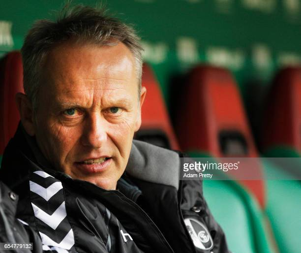 Christian Streich head coach of Freiburg before the Bundesliga match between FC Augsburg and SC Freiburg at WWK Arena on March 18 2017 in Augsburg...