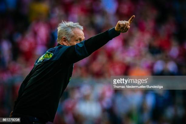 Christian Streich head coach of Freiburg is seen during the Bundesliga match between FC Bayern Muenchen and SportClub Freiburg at Allianz Arena on...