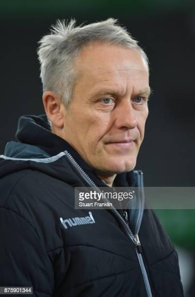 Christian Streich head coach of Freiburg looks on during the Bundesliga match between VfL Wolfsburg and SportClub Freiburg at Volkswagen Arena on...