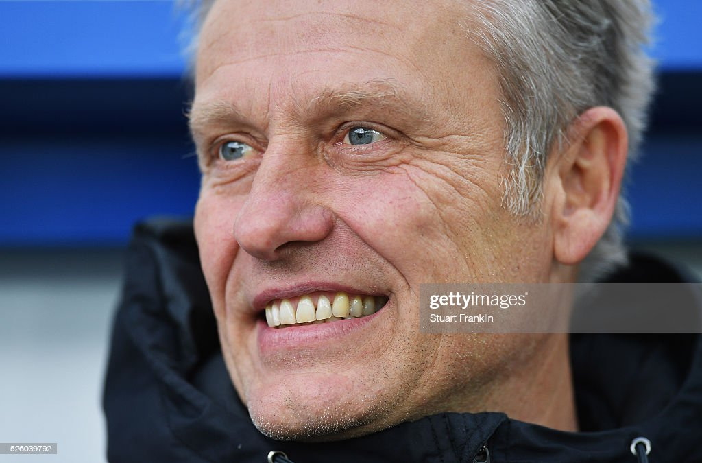 Christian Streich, head coach of Freiburg looks on during the second Bundesliga match between SC Paderborn and SC Freiburg at the Benteler Arena on April 29, 2016 in Paderborn, North Rhine-Westphalia.