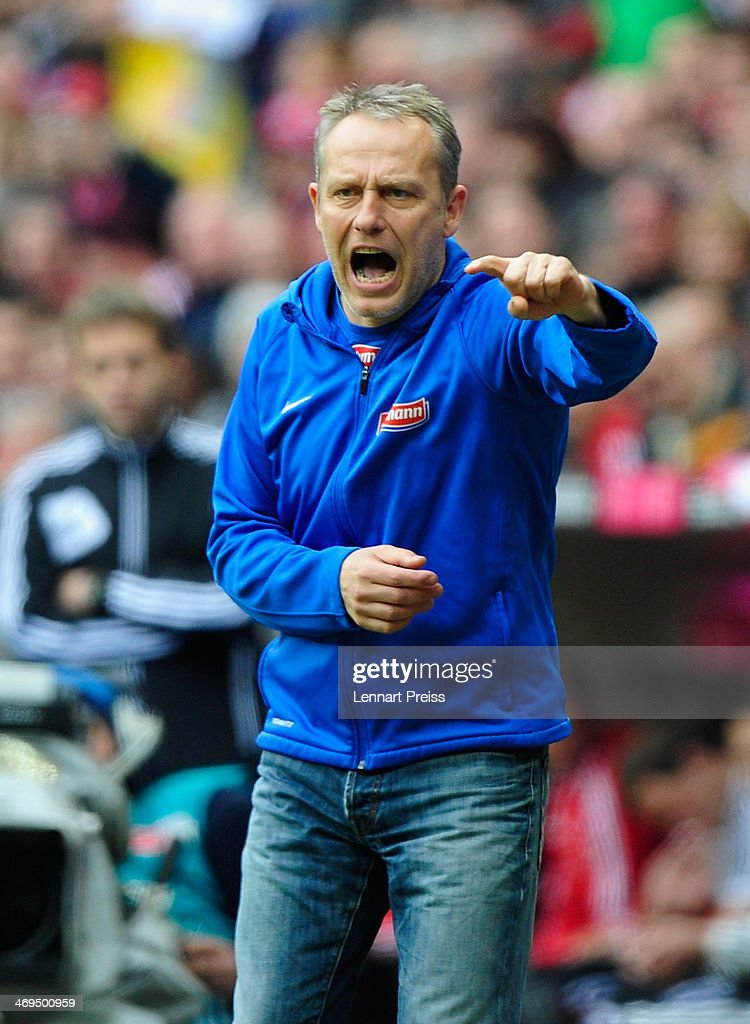 <a gi-track='captionPersonalityLinkClicked' href=/galleries/search?phrase=Christian+Streich&family=editorial&specificpeople=4411796 ng-click='$event.stopPropagation()'>Christian Streich</a>, head coach of Freiburg reacts during the Bundesliga match between FC Bayern Muenchen and SC Freiburg at Allianz Arena on February 15, 2014 in Munich, Germany.