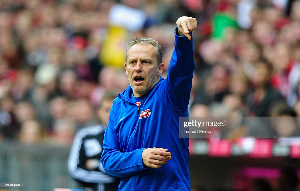 Christian Streich, head coach of Freiburg reacts during the Bundesliga match between FC Bayern Muenchen and SC Freiburg at Allianz Arena on February 15, 2014 in Munich, Germany.