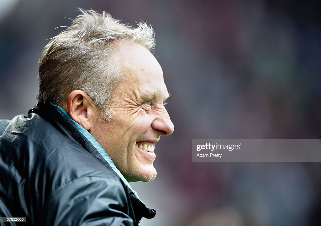 <a gi-track='captionPersonalityLinkClicked' href=/galleries/search?phrase=Christian+Streich&family=editorial&specificpeople=4411796 ng-click='$event.stopPropagation()'>Christian Streich</a> Head Coach of SC Freiburg before the FC Augsburg v SC Freiburg Bundesliga match at SGL Arena on October 25, 2014 in Augsburg, Germany.
