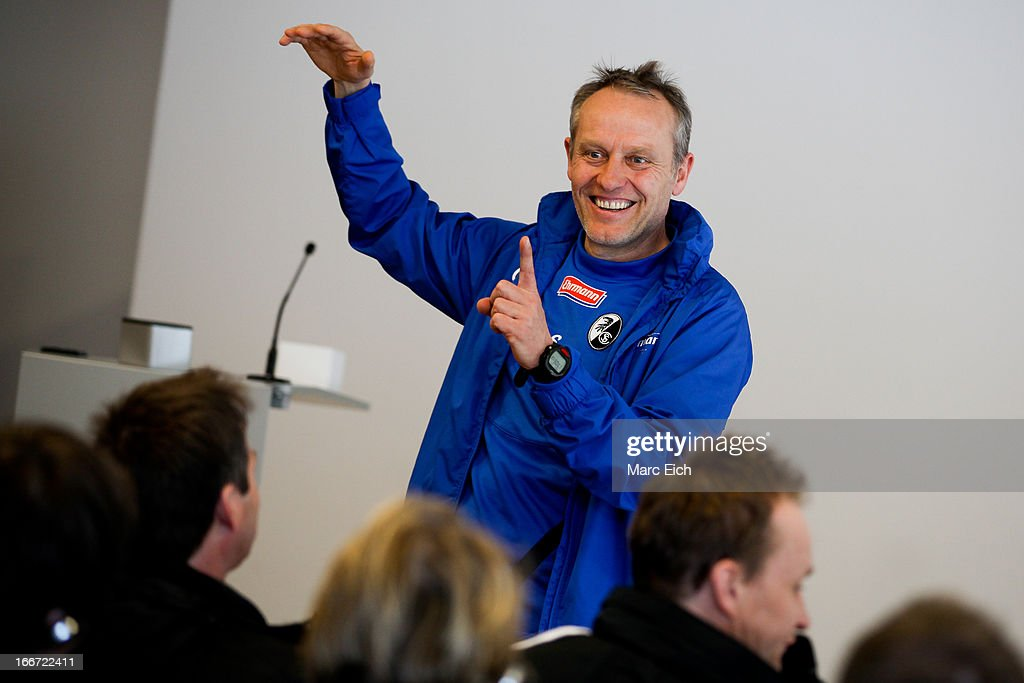 <a gi-track='captionPersonalityLinkClicked' href=/galleries/search?phrase=Christian+Streich&family=editorial&specificpeople=4411796 ng-click='$event.stopPropagation()'>Christian Streich</a> (headcoach SC Freiburg) is talking to the UEFA study group during a visit at MAGE Solar Stadion on April 10, 2013 in Freiburg im Breisgau, Germany.