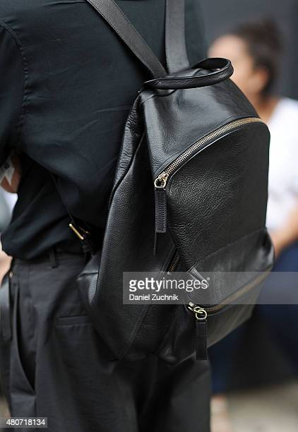 Christian Stroble is seen outside the Todd Snyder show wearing a Stroble NY backpack during New York Fashion Week Men's S/S 2016 at Skylight Clarkson...