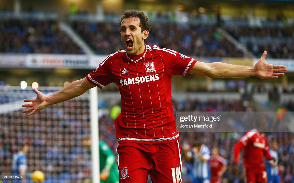 Christian Stuani of Middlesbrough celebrates as he scores their third goal during the Sky Bet Championship match between Brighton and Hove Albion and...