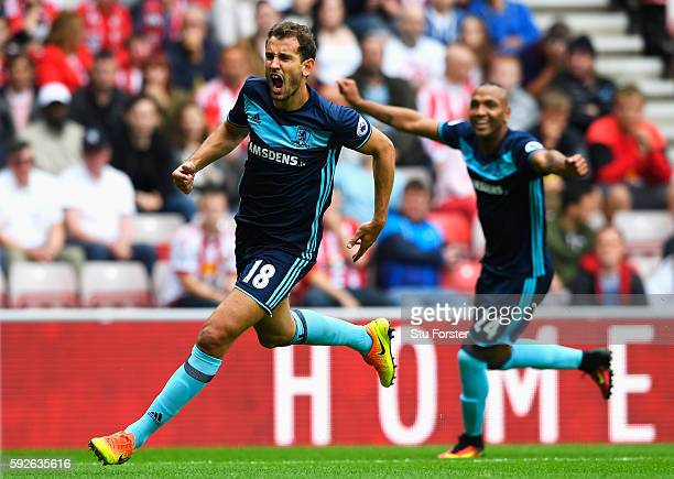 Christian Stuani of Middlesbrough celebrates scoring the opening goal with Emilio Nsue during the Premier League match between Sunderland and...