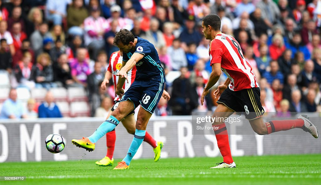 Christian Stuani of Middlesbrough scores the opening goal during the Premier League match between Sunderland and Middlesbrough at Stadium of Light on August 21, 2016 in Sunderland, England.